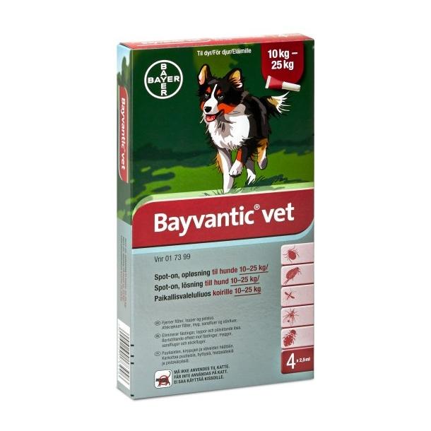 Bayvantic Vet loppemiddel til hund 10-25 kg